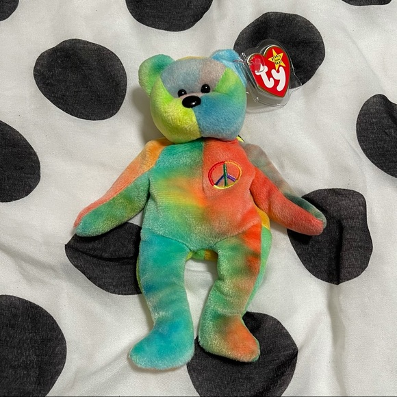 Rare First Edition PVC Ty Beanie Baby Peace